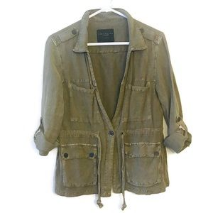 Sanctuary Olive Green Linen Utility Field Jacket
